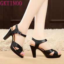 GKTINOO Fashion Genuine Leather Sandals 2020 New High Heel Summer Shoes