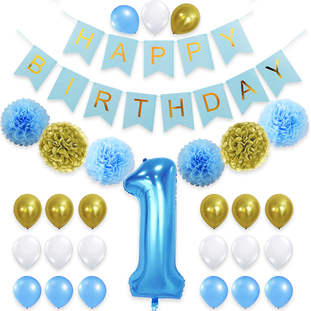 29pcs Lot 40inch Blue Number Foil Balloons Flag 1 Year Old Happy Babys Birthday Party