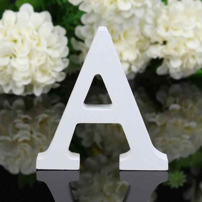 1pc Diy 自立木材木製の手紙白アルファベット結婚式誕生日パーティーホームデコレーションパーソナル名前デザイン B1