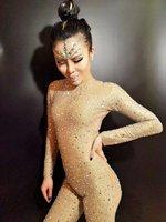 Rompers long sleeve Jumpsuit Costume Fashion Full Crystals Stones Sparkling Diamond Bodysuit Singer Dance Performance Leotard