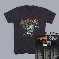 New Fashion Def Leppard Styx Tesla Tour 2015 T Shirt Rock Metal Band Concert Music Tee