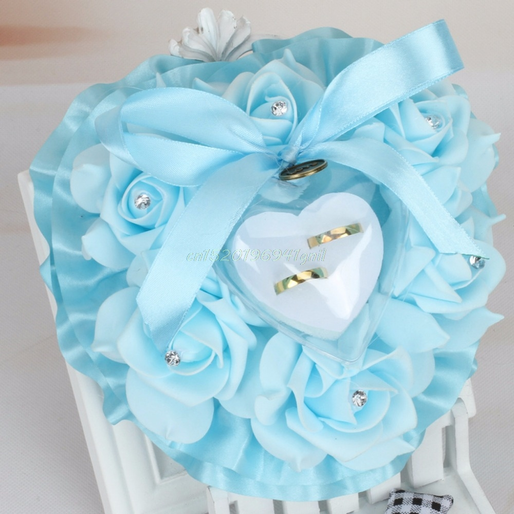 Romantic Rose Wedding Favors Heart Shape Rhinestone Gift Ring Box Pillow Cushion#T025#
