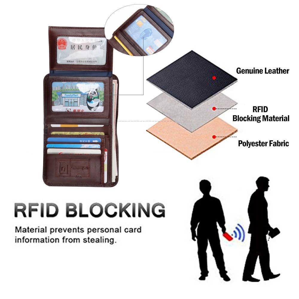 BISON DENIM RFID Hombres billetera de Cuero Genuino rojo marrón de la vendimia titular de la tarjeta monedero hombres carteras de Marca de precio del dólar Monedero Masculino W4361