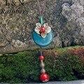 Rainbery Fashion Jewelry Handmade Leather Chain Red Blue Ceramic Beads Pendant Necklace Wholesale Jewelry