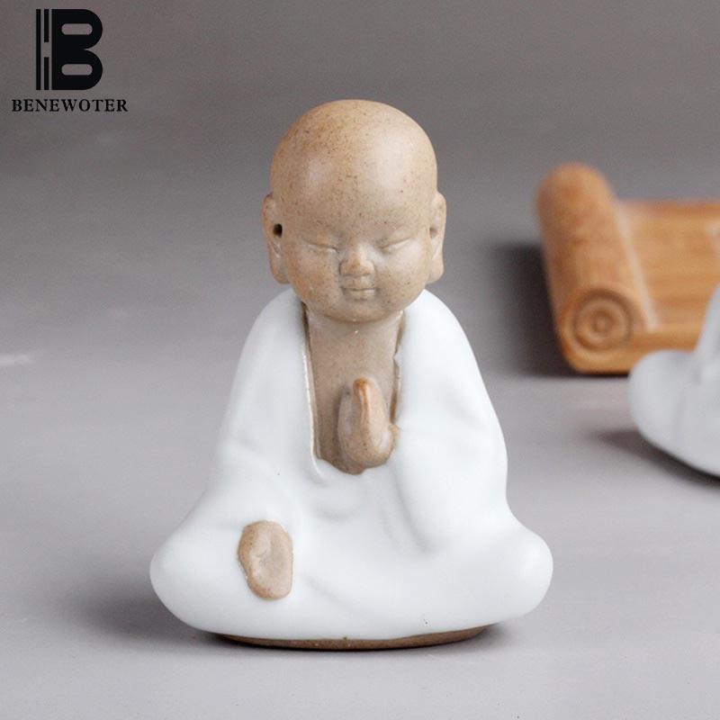 4 PCS/LOT BENEWOTER thé cérémonie Boutique mignon moine bouddha thé Pet céramique blanc porcelaine violet argile voiture maison bureau ornement