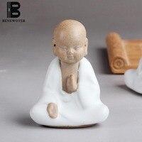 4PCS/LOT BENEWOTER Tea Ceremony Boutique Cute Monk Buddha Tea Pet Ceramic White Porcelain Purple Clay Car Home Office Ornament