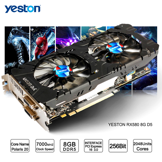 Yeston Radeon RX 580 GPU 8 GB GDDR5 256bit Chơi Game Máy Tính Để Bàn máy tính PC Video Card Đồ Họa hỗ trợ DVI/HDMI PCI-E X16 3.0