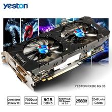 Yeston Radeon RX 580 GPU 8 GB GDDR5 256bit игровой настольный компьютер ПК видео Графика карты Поддержка сигнала от DVI/HDMI PCI-E X16 3,0