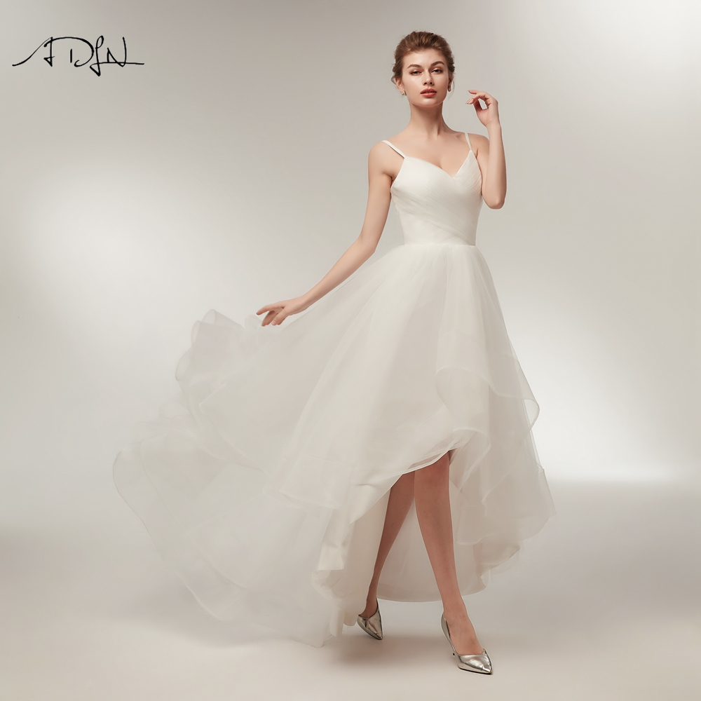 Wedding Dresses Adln Spaghetti Straps High Low Wedding Dresses White/ivory Tulle Asymmetrical Wedding Reception Dress Bridal Gown Customized Sale Price