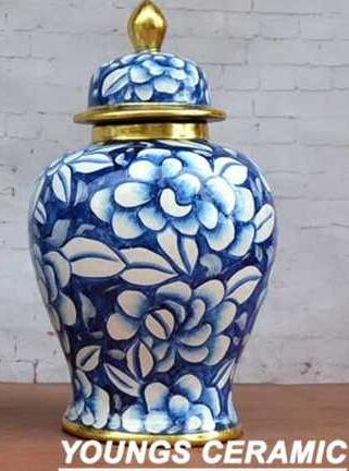 15 Inches large Chinese Porcelain Blue Glazed Ceramic Decorative Ginger Jars