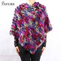 FXFURS Winter Ladies' Genuine 100% Real Knitted Rabbit Fur Poncho Women Fur Pashmina Wrap Female Party Pullover Fur Scarf