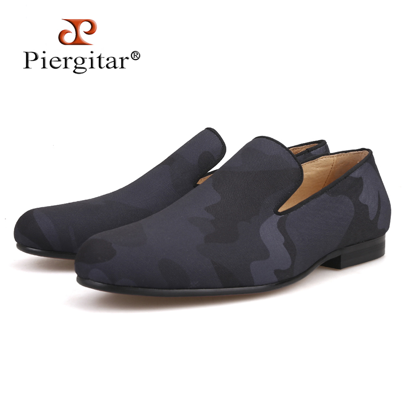Brand Piergitar 2018 new Handmade Black colors Camouflage men's classic loafers Fashion Party and Prom slip-on style men shoes piergitar new four colors men special hemp handmade shoes men plus size slip on party and prom loafers fashion men flats