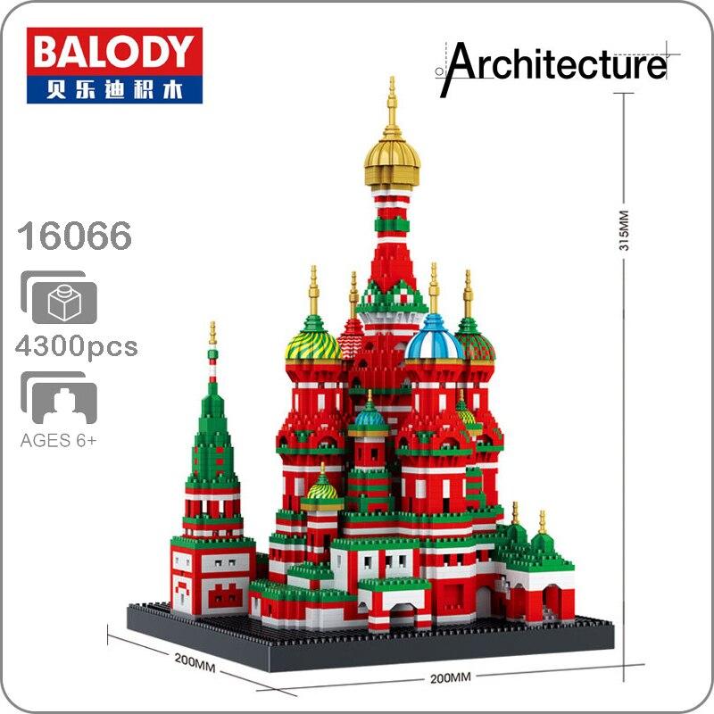 Balody 16066 World Famous Vasile Assumption Cathedral Church Model Micro DIY Diamond Building Nano Blocks 3D