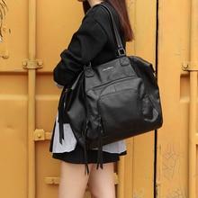2018 handtaschen Frauen Taschen Schwarz Große Kapazität Taschen Umhängetaschen Weiche Reine Farbe Leder Handtasche Dame Messenger Bags 168-165