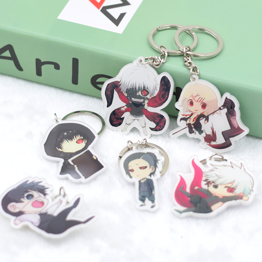 Tokyo Ghoul Keychain DIY Acrylic Key Buckle Pendant  Accessories  Cartoon Key Ring Kaneki Ken Action Figure DJZS008 LTX1 attack on titan shingeki no kyojin acrylic keychain action figure pendant car key accessories key ring jjjr006 ltx1