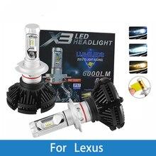 Светодиодный фар автомобиля лампы для Lexus GS300/IS200/LS400/GX460/Rx450h/IS250/RX300 H4 H7 H11 H1 H3 9005 светодиодный 12 V 12000LM для автомобильных фар