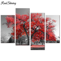REALSHINING 5d Diy Diamond Painting Natural Scenery Red Tree Full Square Diamond Embroidery Mosaic Triptych Home