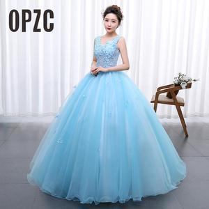 Image 1 - Princess Blue New Wedding Dress 2020 Doubl Shoulders for Party Chorus host Fleabane Bitter Stage Studio Photo