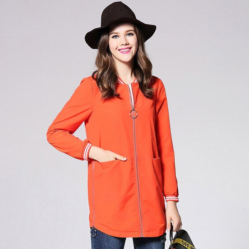 2017 nowa jesienna zipper projekt kobiety wiatrówka trench coat plus rozmiar moda pomarańczowy kolor duży rozmiar kobiety warstwa kurzu