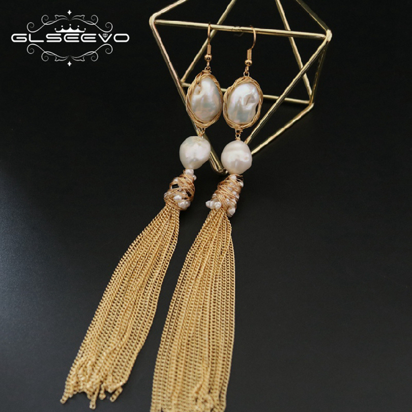 GLSEEVO Original Natural Fresh Water Baroque Pearl Dangle Earring Long Tassel Drop Earrings For Women Jewelry GE0498 yancey original design baroque pearl long tassel star luxurious big drop earrings 9k gold inlay the style of the goddess