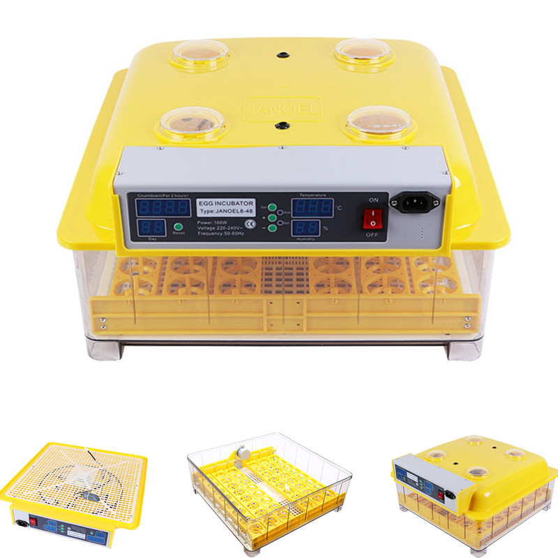 NEW 48 Egg Incubator Automatic Turning Poultry Chicken Bird Eggs Digital Temp Control Hatcher 1pc lot 48 eggs digital clear egg incubator hatcher automatic turning temperature control janoel8 48