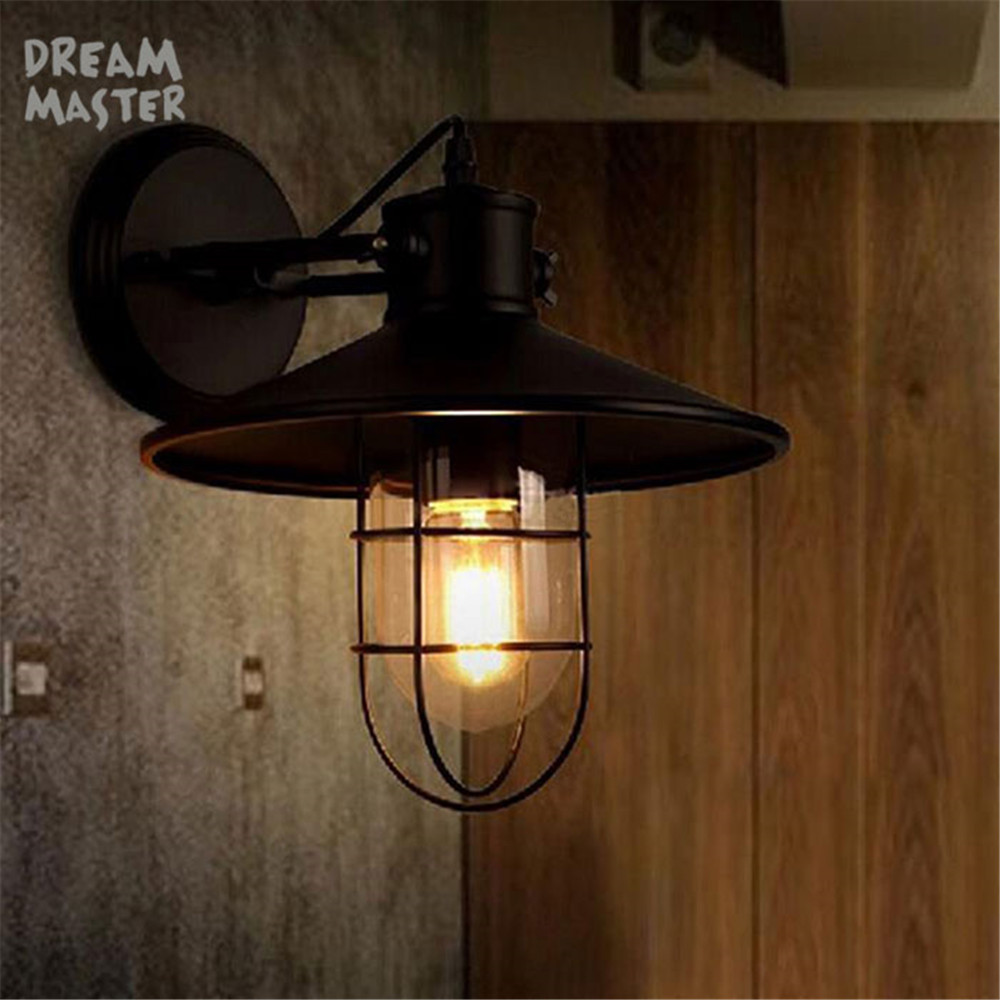 цены Vintage Wall Lamps Iron+Glass Wall Lights American Country Bedroom Bedside Lamp Wall Fixtures Lighting Edison Bulb sconces