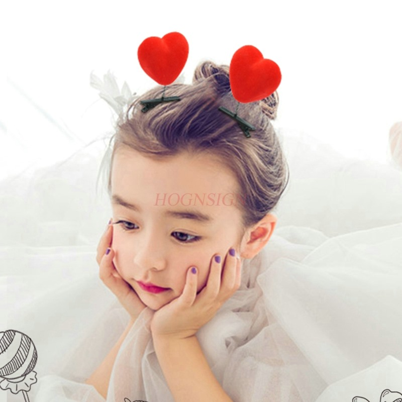 2pcs Children's Baby Cute Cute Hair Clips Big Red Heart Top Clip Spring Clip Small Gift Hair Accessories