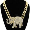 Celebrity Estilo Elefante Colgantes Animales con Chunky Enlace Collar de Cadena de Oro Tono