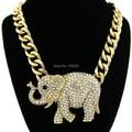 Celebrity Style Animal Elefante Pingentes com Colar Chain link Chunky Gold Tone