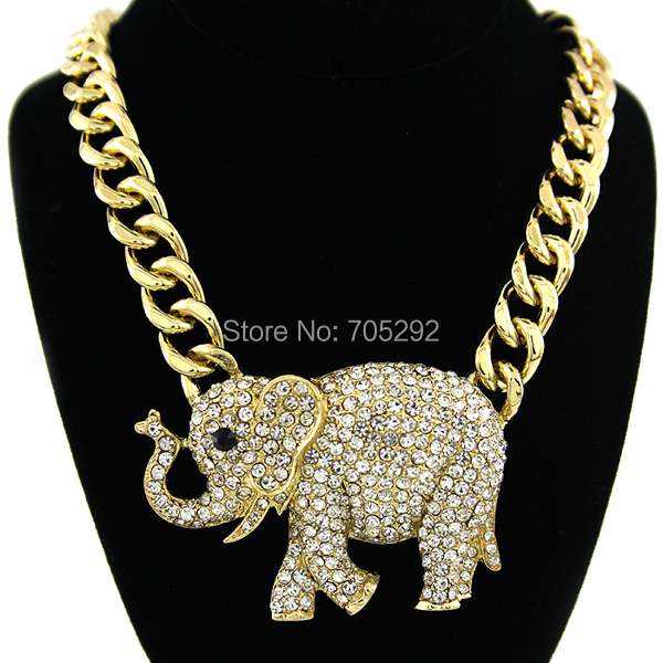 Celebrity Style Elephant Animal Pendants with Chunky Link Chain Necklace Gold Tone