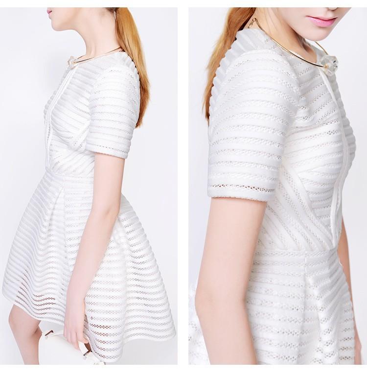 fd08251ff6 2015 New MAJE dress in openwork knit Summer Style Black White Mini ...