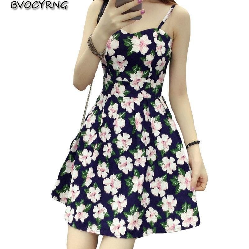 2018 New Big Yards Dresses For Women Sleeveless Sexy Summer Dress Female Print Spaghetti Strap Mini Vestido AO345