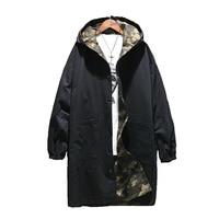 Slim Men Trench Coat Long Korean Spring Hooded Streetwear Windbreaker Oversized Harajuku Erkek Mont Military Man Coat Xp1020