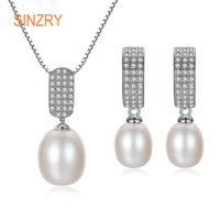 Sinzry Brand 2018 fresh Pearl Jewelry Set elegant zirconia Stud Earrings & Pendant 925 Silver Women Jewelry Sets for Women Gift