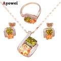 Acessórios do casamento Brincos pendientes Cor Cristal Conjunto de Jóias de Moda Colar de Prata Fina Anel sz #6 #7 #8 #9 JS564A