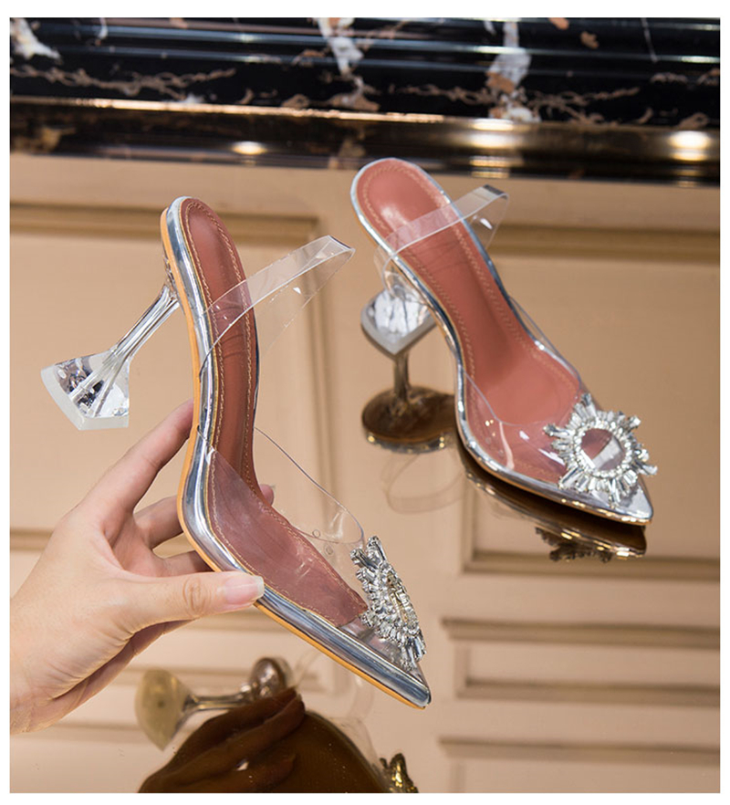 HTB1aCf4bBiE3KVjSZFMq6zQhVXaG Women's high heel sandals 2019 summer new pointed low heel rhinestone decorative sandals 42 large size jelly shoes