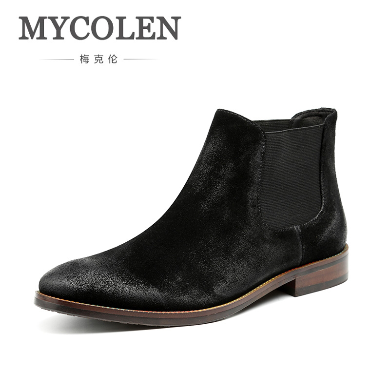 MYCOLEN Chelsea Boot Men Genuine Suede Martin Boots New Fashion Low Heel Leather Ankle Boots Autumn Sewing Thread Men Boots men s desert military boots touch guy cow suede genuine leather ankle martin boot