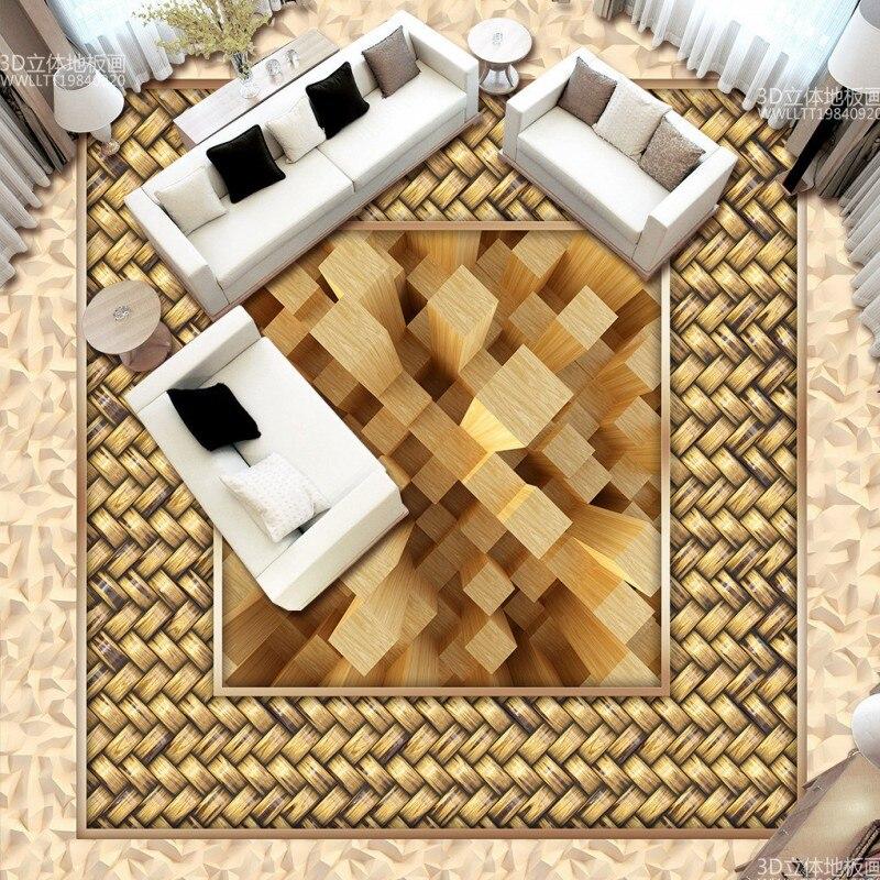 Free Shipping High-grade wood grain flooring painting wallpaper living room kitchen home decoration floor mural цены онлайн