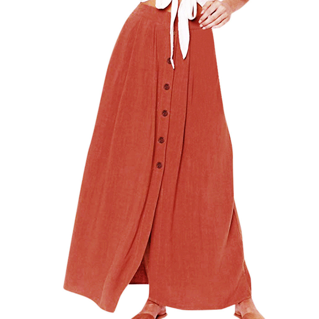 Women Summer Fashion Summer Casual Solid Button Fork Opening Hollowing Out Daily Floor-Length Skirt Faldas Mujer Moda 2020 50