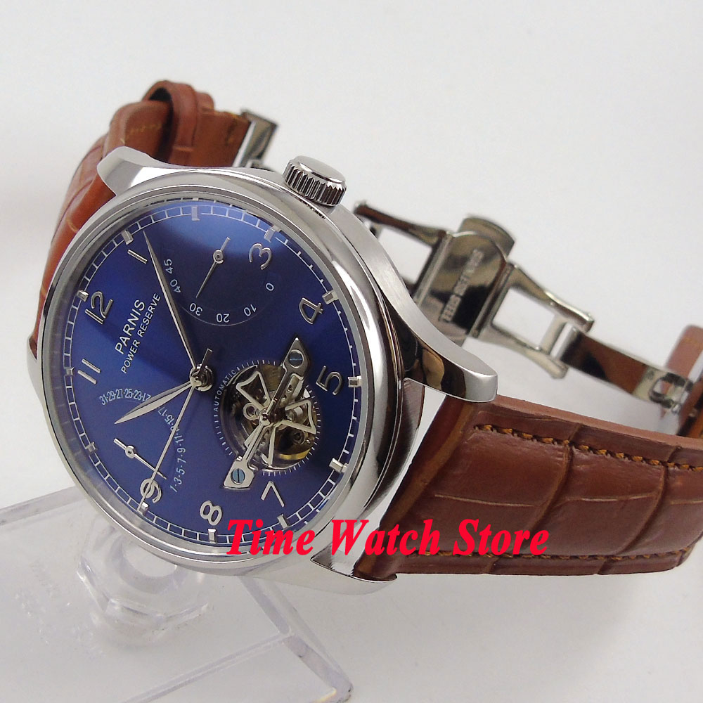 все цены на Parnis watch 43mm Blue dial date silver hands power reserve deployant clasp Automatic Men's watch 547 relogio masculino онлайн