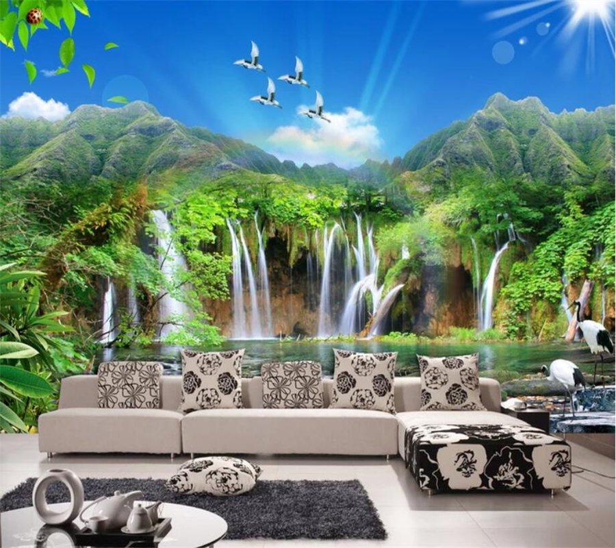 beibehang Custom mural 3d photo wallpaper Jiangshan picturesque landscapes beautiful TV background wall living room 3d wallpaper