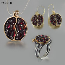 Canner Vintage Round Red Pomegranate Garnet Necklace Gold Stone Pendant Choker For Woman Girl Jewelry Gift