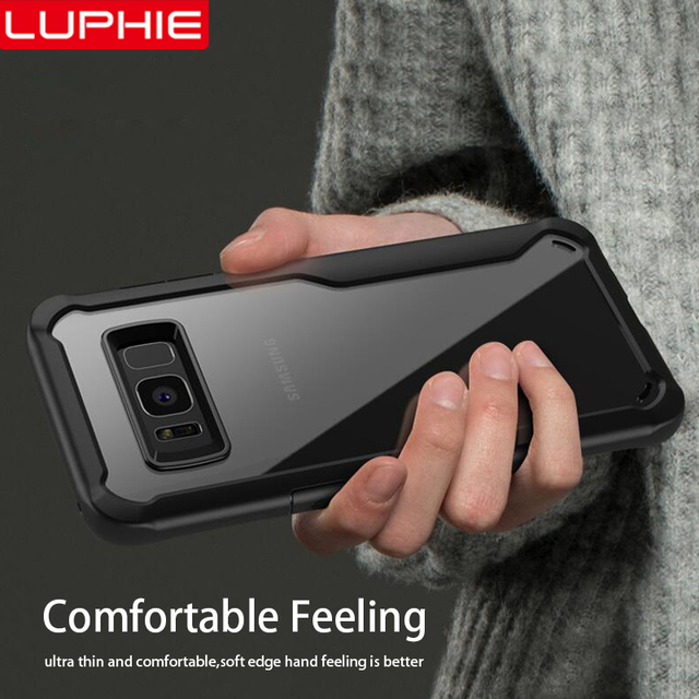 LUPHIE Shockproof Case For Samsung Galaxy S9 S8 Plus Note 8 9 Transparent Case Cover For Samsung A8 A6 Plus 2018 Armor Case Skin