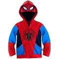A la Venta! 2015 de Invierno Nueva Moda Niños Spider Man Spiderman Niños hoodies Ropa de Abrigo Chaqueta de Abrigo Para Niños
