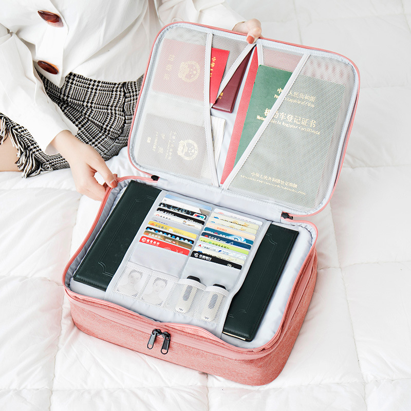 Travel Double Layer Waterproof Document Package Multi-functional Cloth Organized Zip Bag Business Briefcases Handbag Accessories