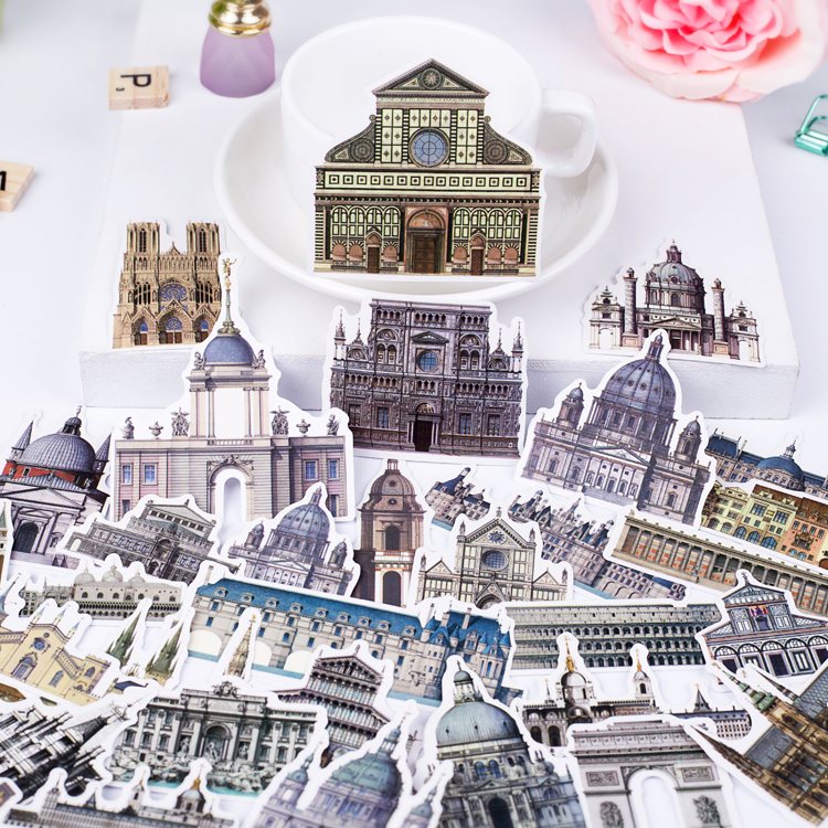 58pcs Tourism Series Vintage Building Retro European Castles Decoration Stationery Sticker Diy Ablum Diary Scrapbooking Supply