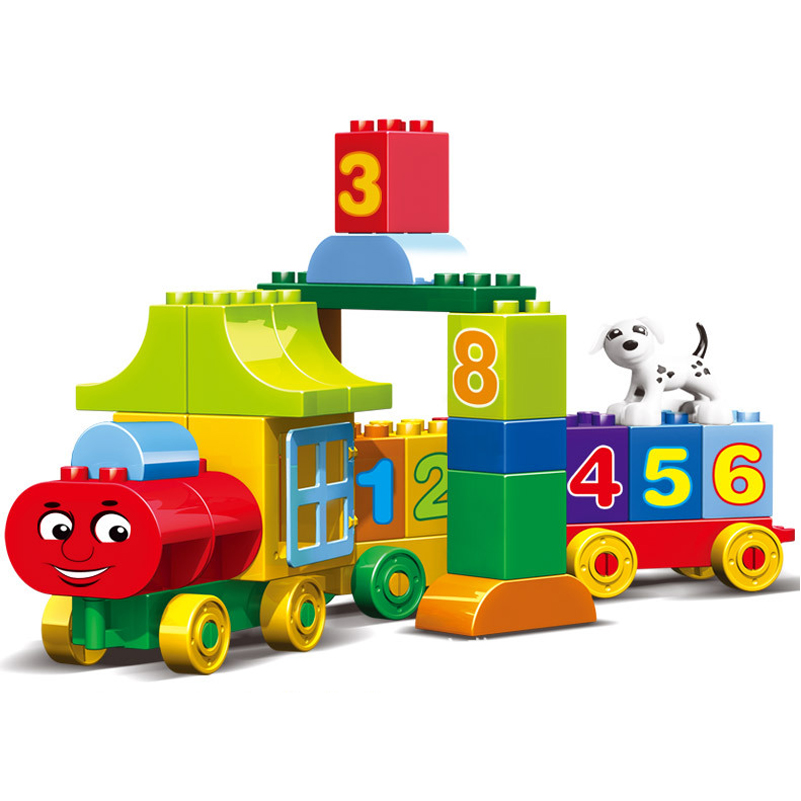 Image 3 - 50pcs Legoings Duplo Number Train Large particles Building Blocks Train Number Bricks Educational Baby City Toys For Children-in Blocks from Toys & Hobbies
