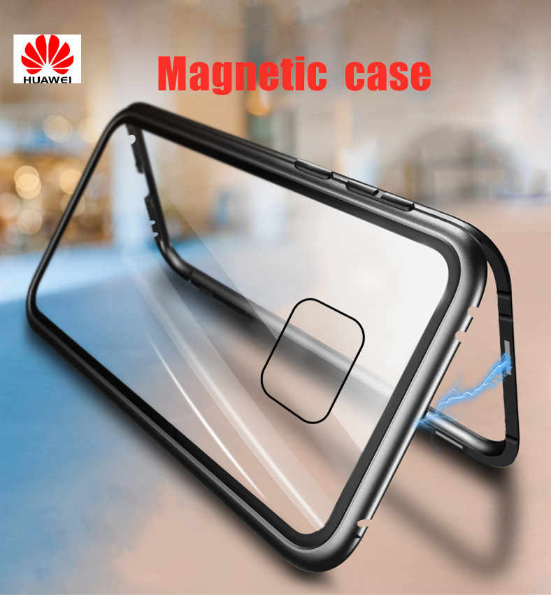 Magnetic Adsorption Metal Case For Huawei honor 10 lite honor 8x play Y6 honor V10 20 Cases Tempered Glass Clear Magnet Cover