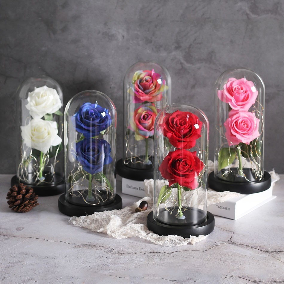 Image 3 - Dropping Rose Light Bottle In Jar Desk Night Light Beauty And The Beast Romantic Gift Bedside Wooden Desk Lamp Romantic Valentin-in LED Night Lights from Lights & Lighting