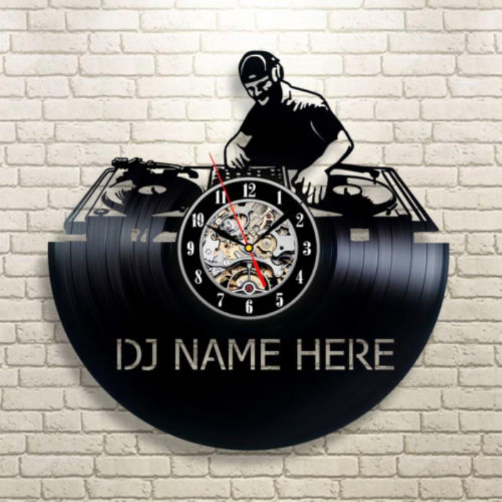 Dj Name Here Vintage 12 Vinyl Record Wall Clock